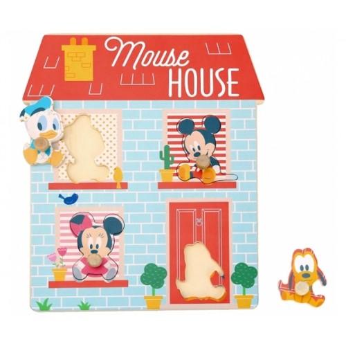 Drevené Disney puzzle, domček pre najmenších Mickey a priatelia, 24 x 30 cm