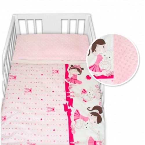 2-dielne bavlnené obliečky s Minky Baby Nellys - Princess, ružová /ružová - 120x90