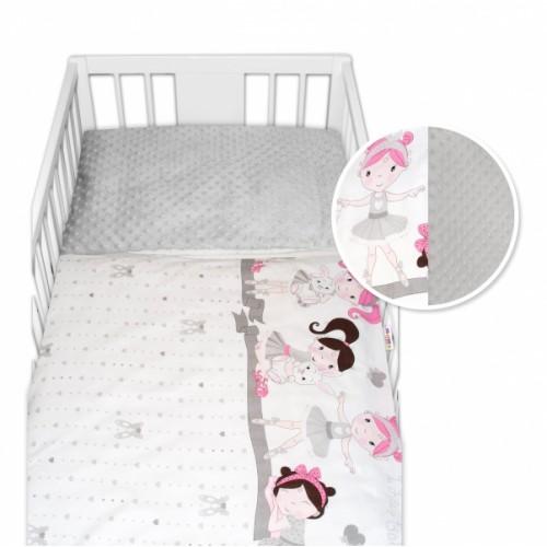 2-dielne bavlnené obliečky s Minky Baby Nellys - Princess, sivá/sivá, 135 x 100 cm - 135x100