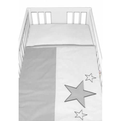 Baby Nellys Obliečky do postieľky Baby Stars - sivé, veľ. 135x100 cm - 135x100
