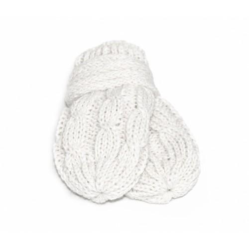 BABY NELLYS Zimné pletené dojčenské rukavičky so vzorom - biele - 12cm rukavičky
