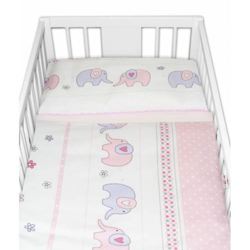 2-dielne bavlnené obliečky Baby Nellys Sloni - ružové - 120x90