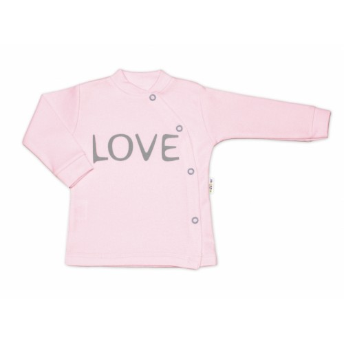Baby Nellys Bavlnená košieľka Love zapínanie bokom - ružová - 50 (0-1m)