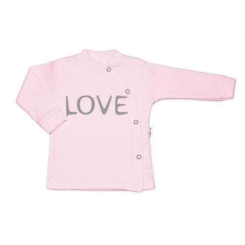 Baby Nellys Bavlnená košieľka Love zapínanie bokom - ružová, veľ. 62 - 62 (2-3m)