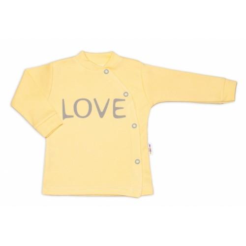 Baby Nellys Bavlnená košieľka Love zapínanie bokom - žltá - 50 (0-1m)