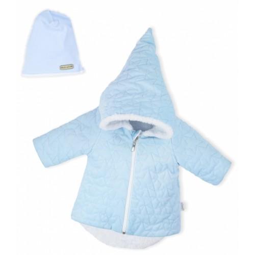 Luxusná prešívaná bundička, kabátik s čiapočkou Nicol Velvet Škriatok - sv. modrá - 56 (1-2m)