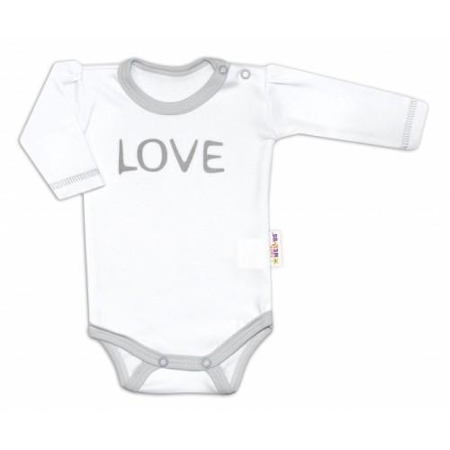 Baby Nellys Body dlhý rukáv Love - biely, veľ. 56 - 56 (1-2m)