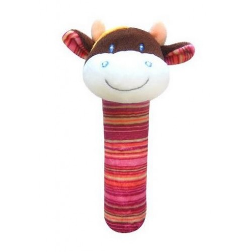 BOBA BABY Edukačná plyšová hračka pískacia - kravička, 1 ks