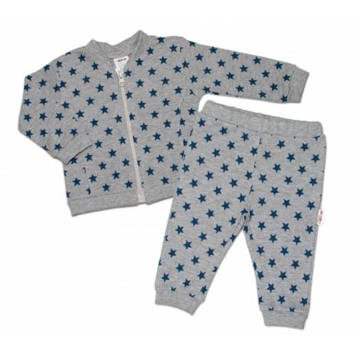 Bavlnená tepláková súprava Baby Nellys ® - Hviezdy tm. modrá/sivá - 56 (1-2m)