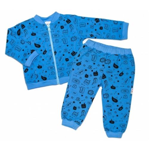 Bavlnená tepláková súprava Baby Nellys ® - Cool Baby, modrá - 56 (1-2m)