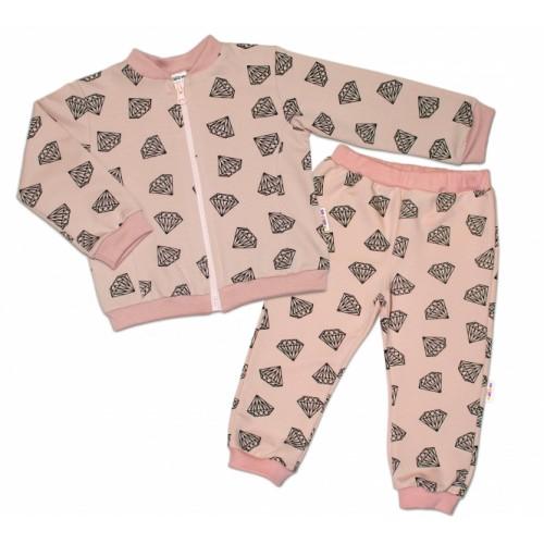 Bavlnená tepláková súprava Baby Nellys ® - Diamant, pudrová, veľ. 68 - 68 (4-6m)