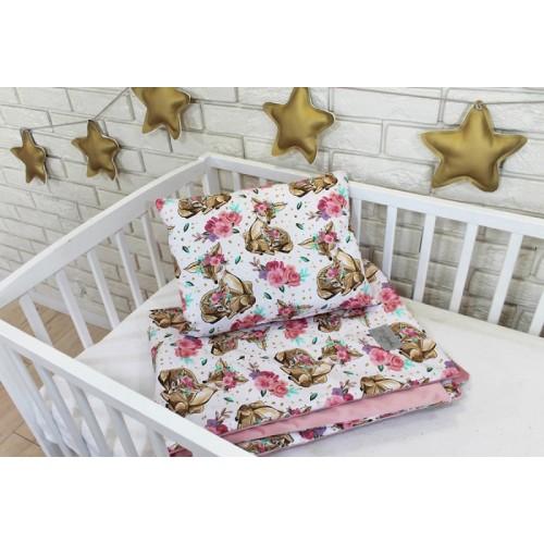 Baby Nellys 2-dielna súprava do postieľky Velvet růžový, srnky/kvetiny