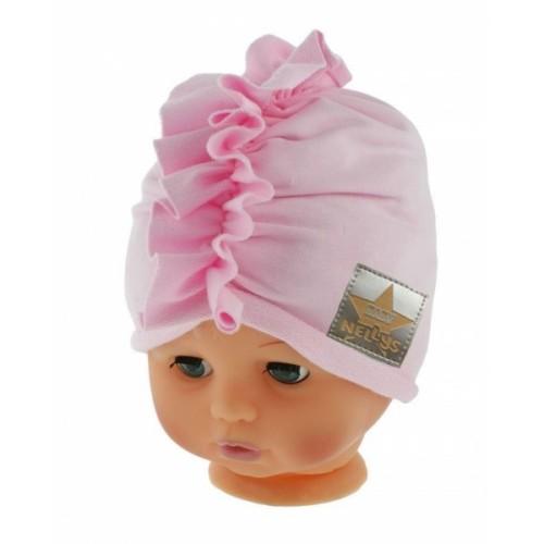 Baby Nellys Jarná/jesenná bavlnená čiapka - turban, sv. ružová - 40/42 čepičky obvod