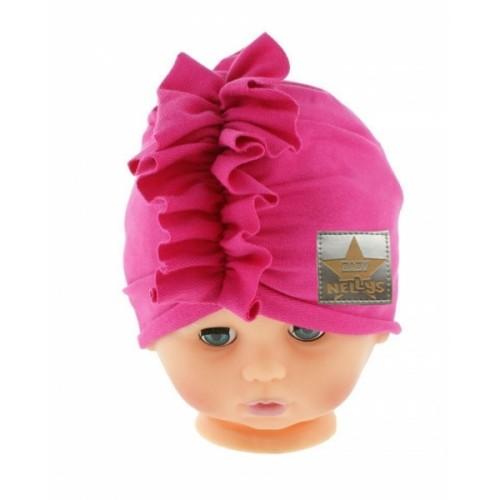 Baby Nellys Jarná/jesenná bavlnená čiapka - turban, tm. ružová - 40/42 čepičky obvod