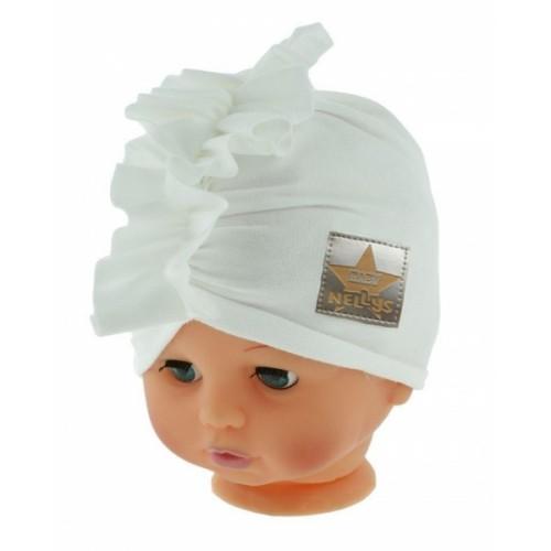 Baby Nellys Jarná/jesenná bavlnená čiapka - turban, biela - 40/42 čepičky obvod