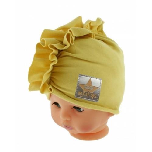 Baby Nellys Jarná/jesenná bavlnená čiapka - turban, horčicová - 40/42 čepičky obvod