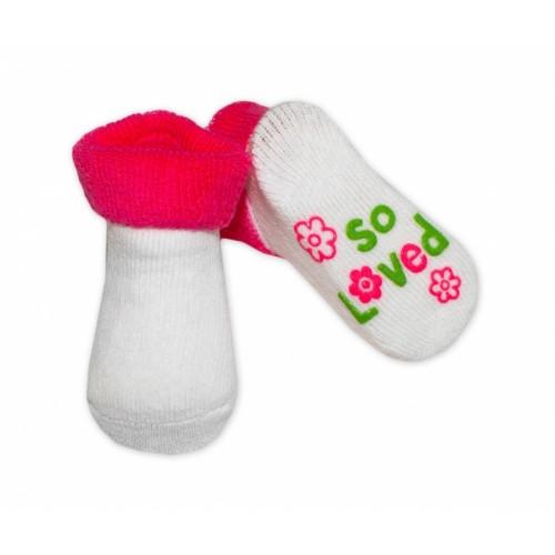 Dojčenské ponožky  0-6 m,RISOCKS rôzne motívy - tm. ružová - 0/6 měsíců