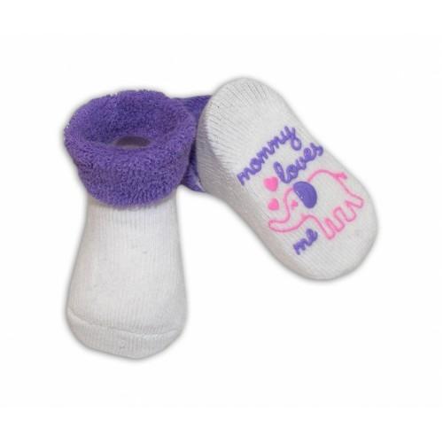 Dojčenské ponožky  0-6 m,RISOCKS rôzne motívy - fialová - 0/6 měsíců