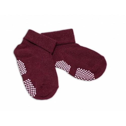 Dojčenské ponožky 0-12 m,RISOCKS protišmykové - bordo - 0-1rok
