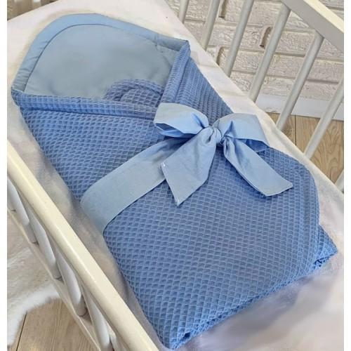 Baby Nellys Luxusné zavinovačka vaflová s mašľou - modrá