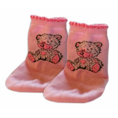 Baby Nellys Bavlnené ponožky Teddy - svetle růžové, veľ. 15-16cm - 15-16 vel. ponožek
