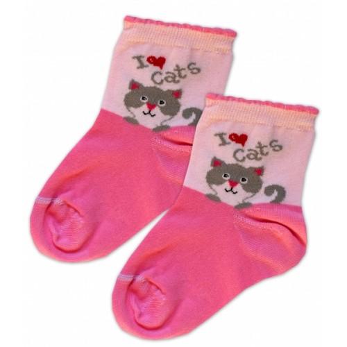 Baby Nellys Bavlnené ponožky I love cats - růžovo/sv. růžová, veľ. 17-18cm - 15-16 vel. ponožek