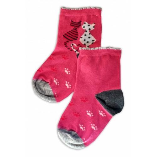 Baby Nellys Bavlnené ponožky Kočičky - růžové - 13-14 vel. ponožek