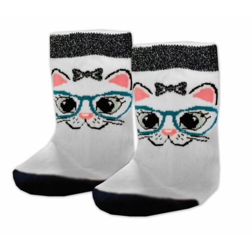Baby Nellys Bavlnené ponožky Mačka s okuliarmi - biele, veľ. 17-18cm - 17-18 vel. ponožek