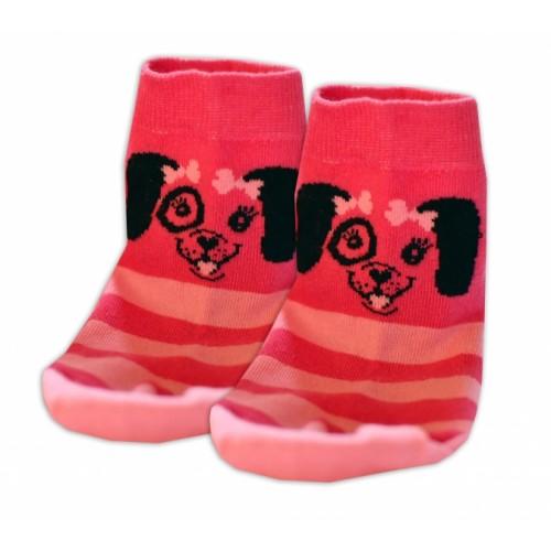 Baby Nellys Bavlnené ponožky Psík mašlička - růžové - 13-14 vel. ponožek