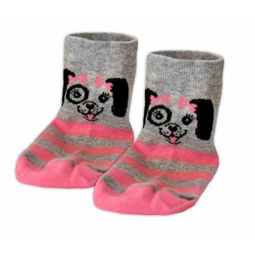 Baby Nellys Bavlnené ponožky Psík mašlička - sivé/růžový průžok, veľ. 17-18cm - 17-18 vel. ponožek