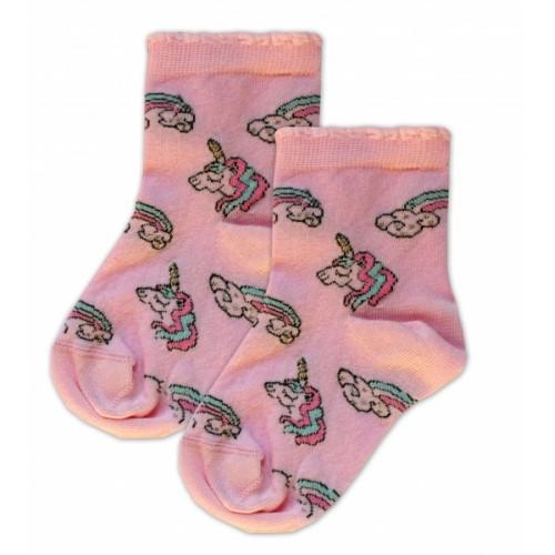Baby Nellys Bavlnené ponožky Jednorožci - růžové  - 13-14 vel. ponožek