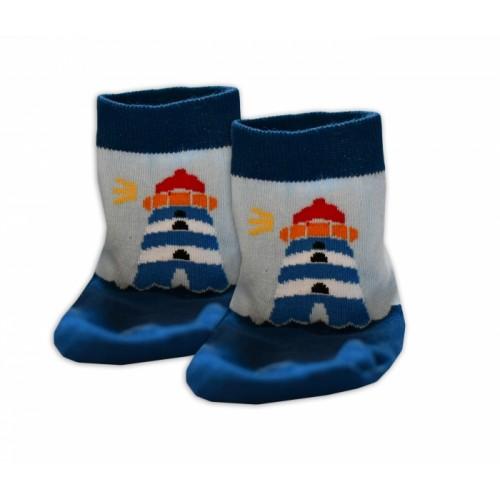 Baby Nellys Bavlnené ponožky Majak - modré/sv. modré, veľ. 17-18cm - 17-18 vel. ponožek