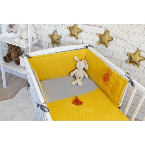 Baby Nellys 3 dielna sada Mantinel s obliečkami vafelek - horčicová - 120x90