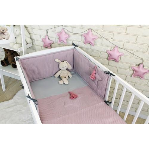 Baby Nellys 3 dielna sada Mantinel s obliečkami vafelek - ružová - 120x90
