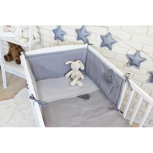 Baby Nellys 3 dielna sada Mantinel s obliečkami vafelek - šedá, 135 x 100 cm - 135x100