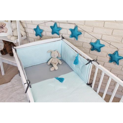 Baby Nellys 3 dielna sada Mantinel s obliečkami vafelek - tyrkys, 135 x 100 cm - 135x100