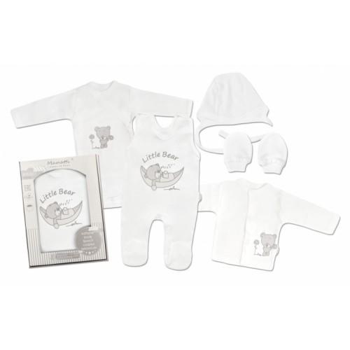 Mamatti Novorodenecká súprava do pôrodnice, biela - Medvedík, veľ. 62 - 62 (2-3m)