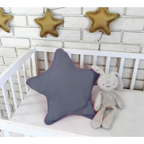 Baby Nellys Dekoračné obojstranný vankúšik - Hviezdička, 45 cm - tm. šedá