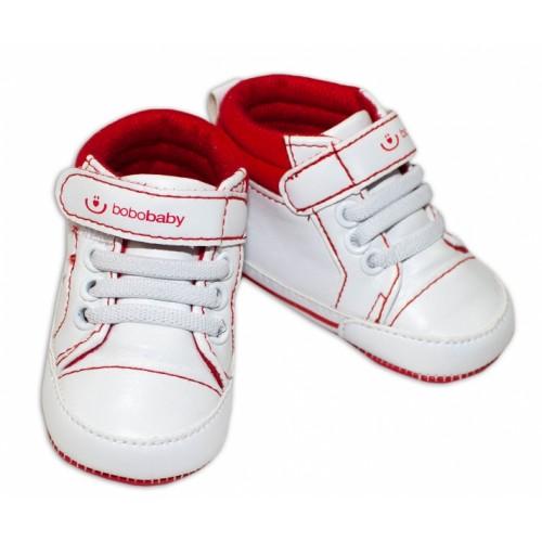 Jarné topánočky /tenisky BOBO BABY - biele / červené - 3/6měsíců