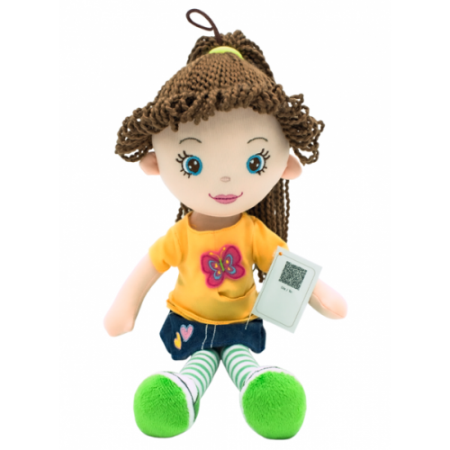 Handrová bábika Markétka s hnedými vláskami, Tulilo, 35 cm - jeans