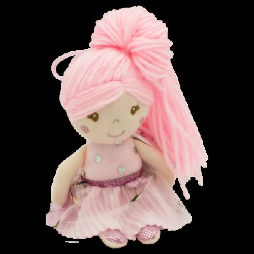 Handrová bábika Julia s dlhými vlásky, Tulilo, 20 cm - ružová