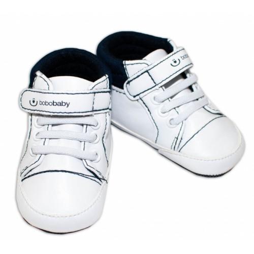 Jarné topánočky /tenisky BOBO BABY - biele / modré - 3/6měsíců