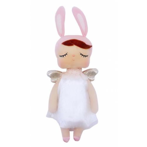 Handrová bábika Metoo Anjelik v šatočkách - růžovo/biela