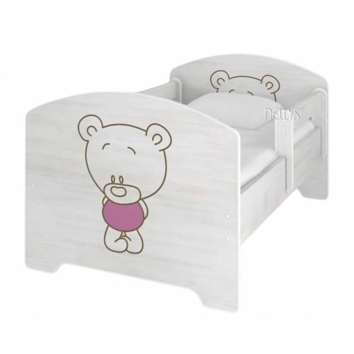 NELLYS Detská posteľ BABY BEAR ružový vo farbe nórskej borovice + matrac zadarmo - 140x70