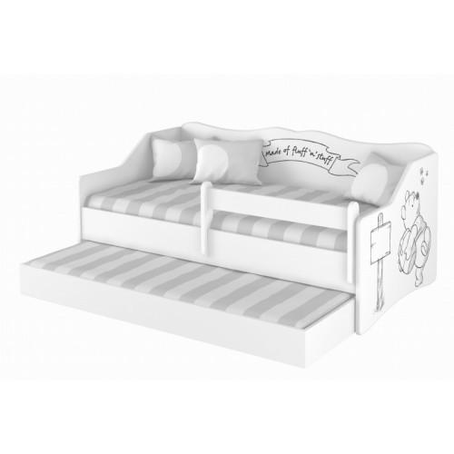Babyboo Detská posteľ LULU 160 x 80 cm - biela Medvedík Pú - black - 160x80