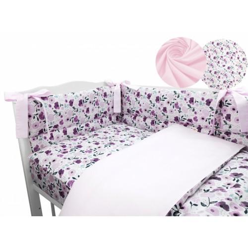 3-dielna sada mantinel s obliečkami Baby Nellys, Lúčne kvietky, ružová - 120x90
