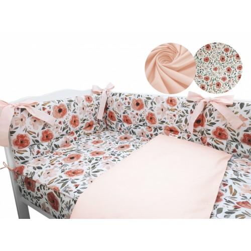 3-dielna sada mantinel s obliečkami Baby Nellys, Begónie, marhuľová, roz. 135x100 cm - 135x100