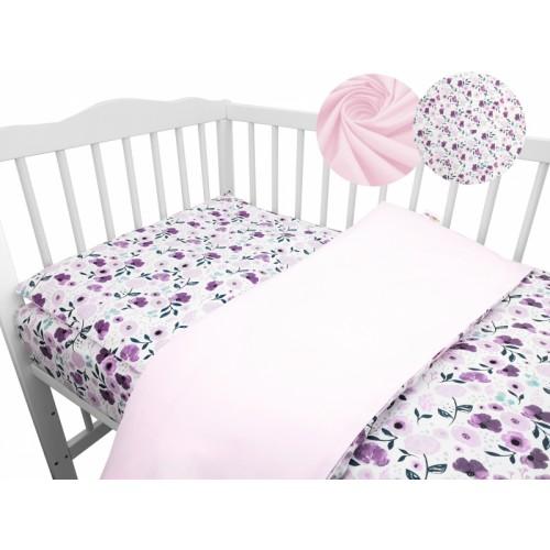 2-dielne bavlnené obliečky Baby Nellys - Lučné kvietky, růžové - 120x90