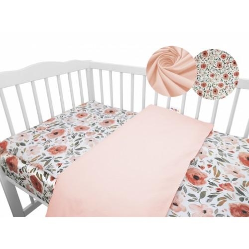 2-dielne bavlnené obliečky Baby Nellys - Begónie, marhuľová - 120x90