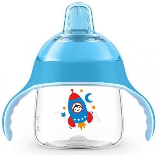 AVENT Prvý hrnček / fľaštička nekapek tučniak v rakete - sv. modrý